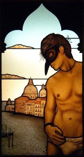 Looking from a Venetian window web